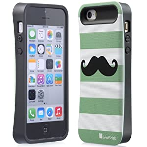 GreatShield ARCH Mustache Design Hybrid Case Hard Shell Cover for Apple iPhone 5 / 5S - Retail Packaging (Green)