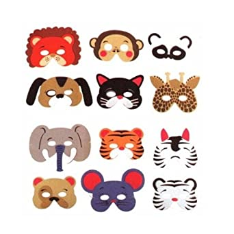 12 Foam Animal Masks