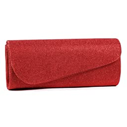 Damara Womens Oblique Flap Glitter Clutch Handbags,red