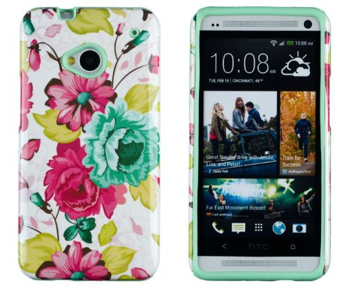 DandyCase 2in1 Hybrid High Impact Hard Pink Floral Pattern + Mint Green Silicone Case Cover For HTC One M7 4G LTE + DandyCase Screen Cleaner