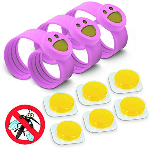 OUTXPRO 3 Bug Off Insect Repellent Slap Bracelets - DEET FREE - No Insecticide - Best Insect Repelling Product for Kids - Looks like Childrens Pretend Play Bracelet While Keeping Away Mosquitos, Black Flies, Sand Flies, Fleas,Ticks and Others (Color Pink)