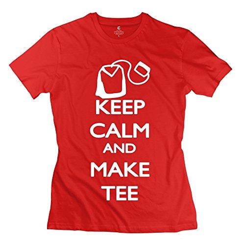 Enocho Women'S Keep Calm Tee T-Shirt - M Red