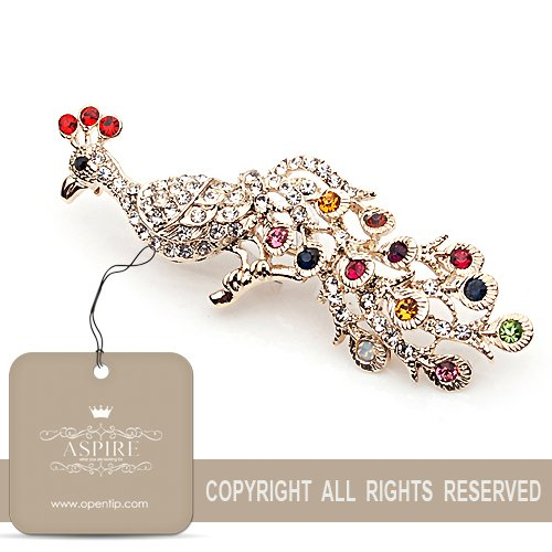 Aspire Gold Tone Colorful Rhinestone Peacock Brooch Pin, Gift Ideas, Christmas Gift 2012