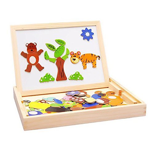 Wooden Multi-functional Animal&Insect Magnetic Jigsaw Puzzle Toy Box with Blackboard & Whiteboard for children to draw (Board To Draw compare prices)