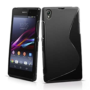 Wave S Line TPU Soft Silicon Gel Back Case Cover For Sony Xperia Z1 L39h - Black
