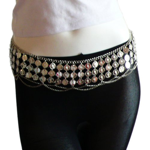 Women Fashion Belly Dancing Coin Silver Metal Hip Belt