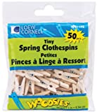 Loew-Cornell Woodsies Tiny Spring Clothespins, 1-Inch, Natural, 50-Pack