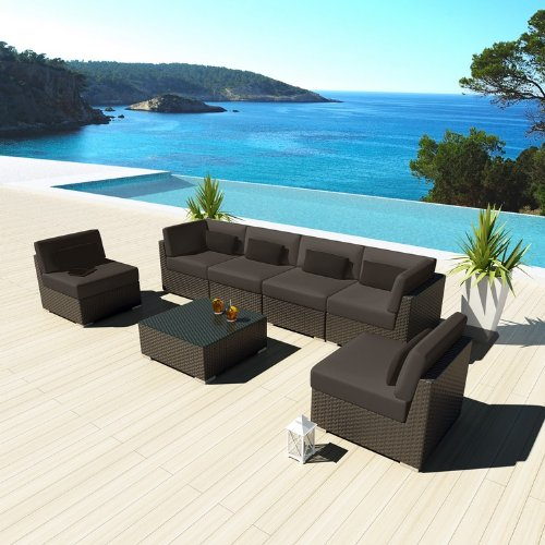 Uduka Outdoor Sectional Patio Furniture Espresso Brown Wicker Sofa Set Daly 7 Dark Grey All Weather Couch photo