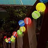 LEAZEAL 20 LED 提灯 ガーデンライト (カラフル) LED ソーラーストリングライト イルミネーションライト クリスマス 屋外 パーティー 防水