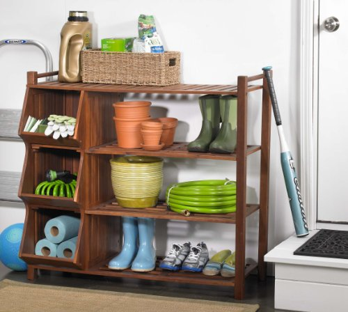 Merry Products SLF0020110000 4-Tier Outdoor Shoe Rack and Cubby