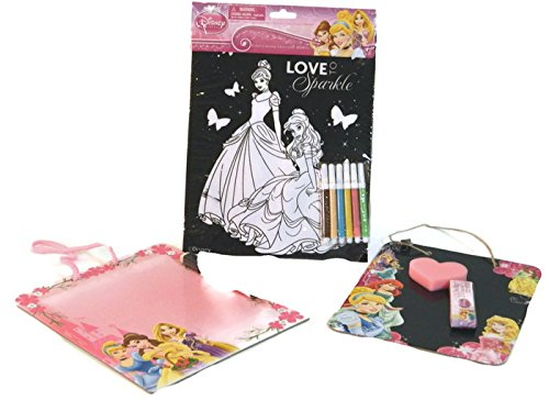 Disney Princess Art Activity Bundle 3 Items Sparkly Coloring Sheet Dry Erase Board Chalkboard - 1