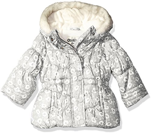Osh Kosh Girls' Infant Classic Heavyweight Parka with Faux Fur Hood, Grey, 12 Months
