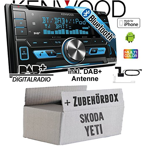 Skoda Yeti - Kenwood DPX-7000DAB - 2DIN Bluetooth DAB+ Digitalradio USB CD MP3 Autoradio inkl. DAB Antenne - Einbauset