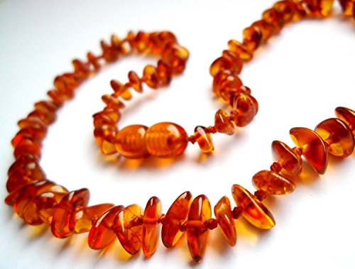Certified Natural Batlic Amber Baby Teething Necklace - Cognac Split - *SCREW CLASP* *SAFETY KNOTTED*