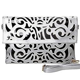 BMC Black Vinyl + Silver Faux Leather Decorative Cut Out Print Design Large Fashion Statement Envelope Clutch