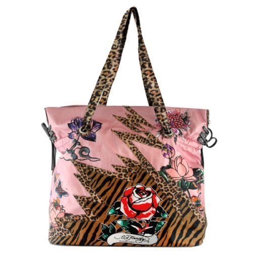 Ed Hardy Baby Diaper Bag Pink Lace up Poppy Design w/ Animal Print