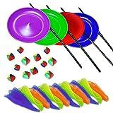 Malabares Juego de 4 platos giratorios con palos de plástico, pañuelos de malabares 24:04 Grupos de 3 bolas de malabares con una bolsa de nylon. colores al azar