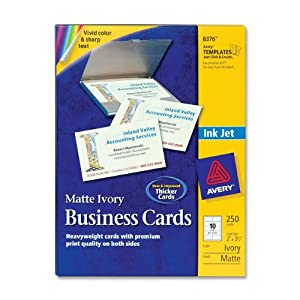 Avery 2 X 3.5in Ink Jet Business Cards (250 Cards) (Ivory)