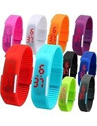 LEMONADE - Pack Of 14 - Multicolor Unisex Silicone Digital LED Band Wrist Watch For Boys, Girls, Men, Women