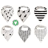 Baby Bandana Drool Bibs Organic 6 Pack for Boys and Girls Absorbent Soft Cotton for Teething Feeding Baby Shower Gift From Lil Dandelion ... (Mono)