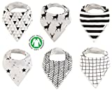 Baby Bandana Drool Bibs Organic 6 Pack Gift Set for Boys and Girls Absorbent Soft Cotton for Teething Feeding Unisex Baby Shower Gift Burp Cloth (Mono)