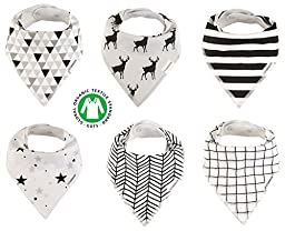 Baby Bandana Drool Bibs Organic 6 Pack for Boys and Girls Absorbent Soft Cotton for Teething Feeding Unisex Baby Shower Gift Burp Cloth From Lil Dandelion (Mono)