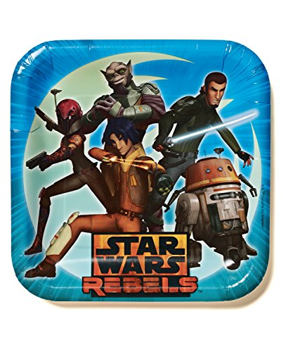 "American Greetings Star Wars Rebels 9"" Square Plate (8 Count), Party Supplies"
