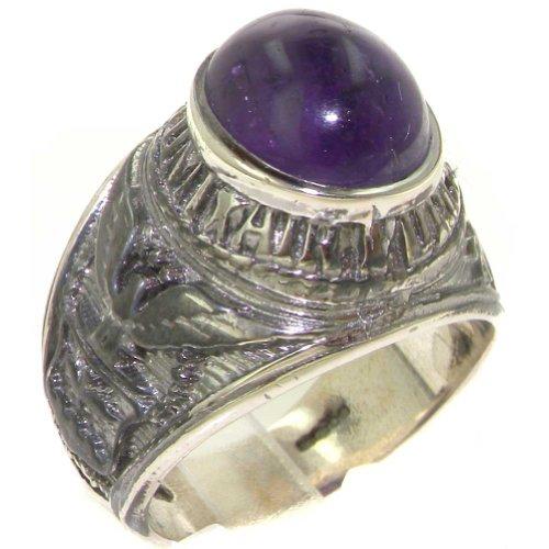 英国製 925 シルバー 天然 カボション アメジスト メンズ カレッジ / ミリタリー リング 指輪 サイズ17 各種サイズあり