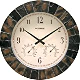 Chaney Instruments Acu-Rite 02418 14-inch Faux-Slate Indoor/Outdoor Wall Clock with Thermometer, Hygrometer