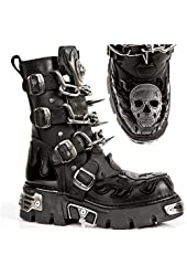 New Rock M727-s1 Mens All Leather Gothic Biker Boots