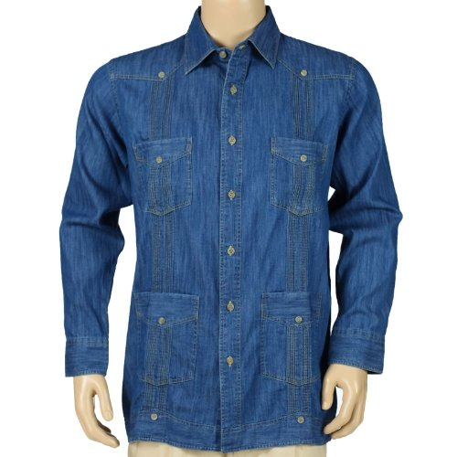 Denim Guayabera Long Sleeve Shirt