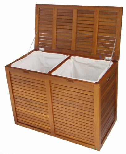 Today Solid Teak Double Laundry Hamper Order Now