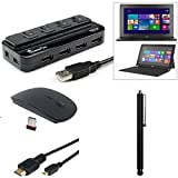 EEEKit Starter Kit for Microsoft Surface RT Tablet Accessory Bundle, 4 Port USB 2.0 Black + 2.4G Wireless Mouse Black + Stylus Pen + Micro HDMI to HDMI Cable 6 Feet