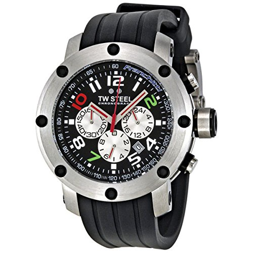 TW Steel Men's TW607 Dario Franchitti edition Black Rubber Chronograph Dial Watch