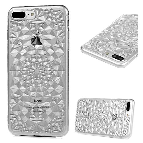 iPhone 7 Plus Case (5.5 inch) - Shockproof Soft TPU Rubber Skin Gel Bumper Case Laser Carving Sunflower Transparent Crystal Clear Ultra Thin Slim Fit Protective Cover by Badalink - Transparent