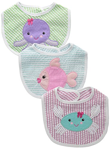 Baby Aspen, Beach Buddies 3-Piece Bib Gift Set, Pink/Purple/Green, 0-9 Months