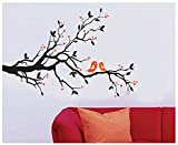UberLyfe Love Birds on a Beautiful Tree Brach Wall Stickers (Wall Covering Area: 130cm x 180cm)