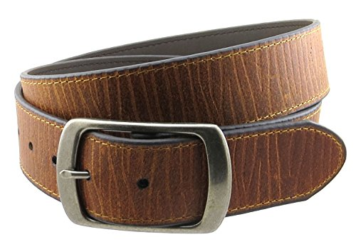 """Vintage Style Leather Belt with Round Buckle 1 5/8"""" Wide (Tan-L)"""