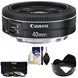 Canon EF 40mm f/2.8 STM Pancake Lens with 3 (UV/FLD/CPL) Filters , Hood, Cleaning Kit