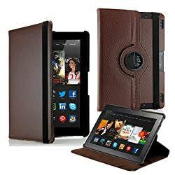 Gearonic TM 360 Degree Rotating PU Leather Flip Case With Swivel Stand for New Kindle Fire HDX 8.9 - Brown
