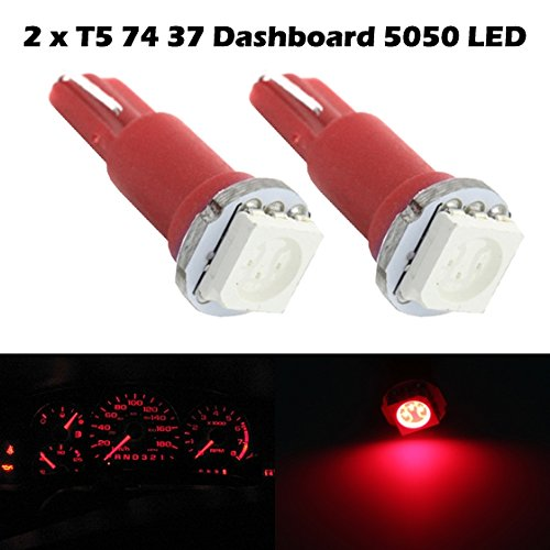 Partsam 2X Red Led Bulbs T5 70 73 74 For Instrument Dashboard Gauge Speedo Light For 1990-2012 Honda Civic