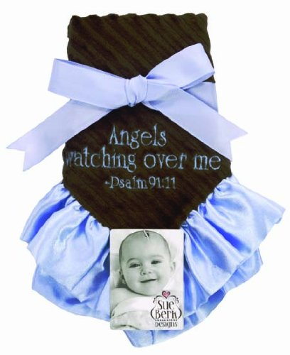 "Baby Boy - Plush Blankie ""Angels Watching Over Me"" Blue Embroidery - Psalm 91:11 - 1"