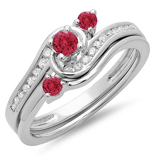 0.50 Carat (Ctw) 14K White Gold Red Ruby & White Diamond Twisted Engagement Ring Set 1/2 Ct (Size 8.5)