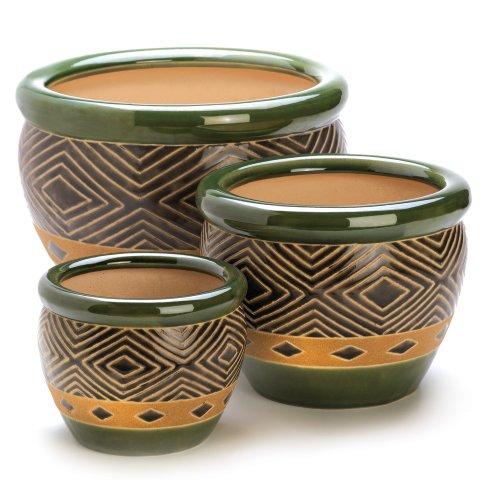 Gifts & Decor Ceramic Jade Garden Planters Flower Plant Pot Set, 3-Piece