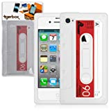 Tigerbox Retro Silicone Cassette Tape Style Case Cover Skin For Apple iPhone 4 / 4S With Screen Protector (White)