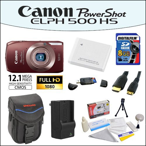 Canon PowerShot ELPH 500 HS 12 MP CMOS Digital Camera with Full HD Video and Ultra Wide Angle Lens (Brown) With Accessory Kit Including 8GB SDHC Memory Card, USB Card Reader, Vanguard Sydney-6B Compact Digital Camera Bag, Mini HDMI Cable, NB-6L Battery, AC/DC Rapid Charger, Lens Cleaning Kit and More