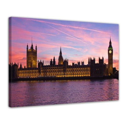 Bilderdepot24 Leinwandbild Big Ben an der Themse - London UK - 70x50 cm 1 teilig - fertig gerahmt, direkt vom Hersteller