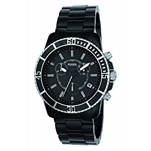 Fossil Men's CH2623 Black Plastic Bracelet Black Analog Dial Chronograph Watch