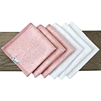 6 Baby Bamboo Bath Washcloths Premium Large Soft White and Pink 11 x 11 inch All Natural Towels by Copper Pearl from Copper Pearl