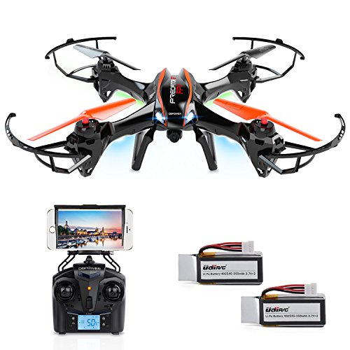 DBPOWER UDI U842 Predator WiFi FPV RC Drone with HD Camera 2.4GHz 4CH 6 Axis Gyro RTF Quadcopter with Low Voltage Alarm Gravity Induction and Headless Mode Includes BONUS BATTERY